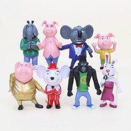 Película de acción en venta-8pcs / set Cante la figura de acción figuras de la película de la historieta de los juguetes 7-10CM Buster los regalos de los niños de las muñecas de Johnny de la luna