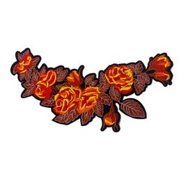 DIY Hot Sale 1-Mirror-Pair-Flower-Patch-Embroidery-Fabric-Applique for Jeans Jacket Bag Embroidery Patches