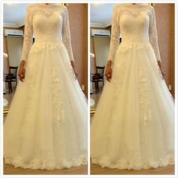 Novias musulmanes vestidos simples en venta-La novia larga de la boda del Applique de la manga del cordón del vintage de Vestido De Festa viste el vestido musulmán para el matrimonio W48