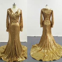 2016 Gold Elegant Evening Dresses V Neckline With Long Sleeves Ruche Court Train Shiny Pageant Dresses ZJ240
