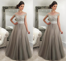 2017 Elegant Silver Gray Evening Dresses Off Shoulder Cap Sleeves Crystal Beaded Tulle Puffy Saudi Arabic Formal Evening Gowns Prom Dresses