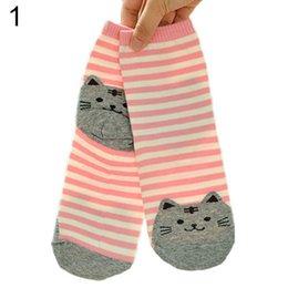 Wholesale New Fashion Leader Women s Cute D Cartoon Animals Striped Socks Cat Footprints Cotton Socks Floor Colors ED