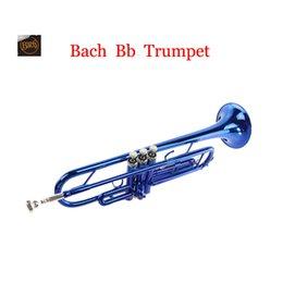 Wholesale Vincent Bach Bb Trumpet tuba Blue Lacquer YTR Trompeta Mouthpiece Profissional instrumento musical Bocal Trompete