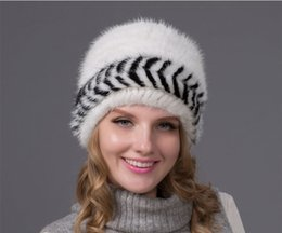 2016 Nouveau Hiver Femmes Chapeaux Mink Fur Beanie Chapeau 6 Couleurs Elastic Knitted Bonnet épais Vintage Mink Natural Handmade Cap BZ-12 à partir de bonnet cru fabricateur
