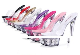 Canada 2017 sexy femme Talons hauts 15CM transparent Crystal chaussures Rose Flower sandales Grande taille 34-44 Offre