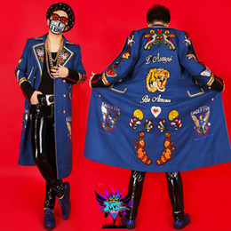 Wholesale male costume blue long male jacket blazer outwear coat for singer dancer ds dj jazz performance nightclub bar bar fashion