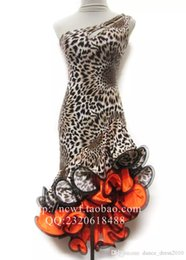 Adult Latin Dance Dress Salsa Tang Cha cha Ballroom Competition Group Dance Dress Leopard S-XXL Customizable A12