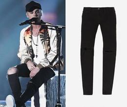 Wholesale 2017 Fear of God FOG zippers jeans fashion skinny slim fit mens Distressed justin bieber black cotton Denim jeans men pants