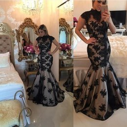 Wholesale Barbara Melo High Neck Cap Sleeves Nude color lining with beaded lace applique detail and keyhole Back Prom evening Dresses
