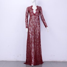 Wholesale Maxi Plus Size Women Floor Length Black White Autumn Lace Dress Adjust Waist Sexy See Through Floral Vestido