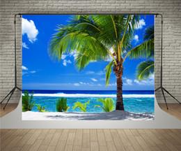 Descuento fondos de verano SUSU 7x5ft (220x150cm) Fotografía de verano Backdrops Cielo azul Palmeras fondo del mar arrugas gratis