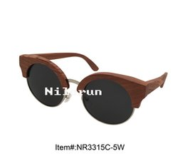 round silver metal red wood frame sunglasses