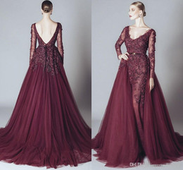 Wholesale Cheap White Lace Maternity Dresses - Elegant Backless Burgundy Lace Formal Celebrity Evening Dresses V Neck Long Sleeves 2017 Elie Saab Middle East Arabic Prom Party Gowns Cheap