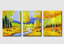 Natural autumn scenery oil painting on canvas for bedroom decorative pictures high quality