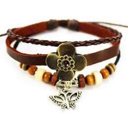 A1002 de haute qualité en cuir bracelet en cuir bijoux ethniques en gros Europe et en Amérique style en bois perles charme bracelet vintage 120pcs / lot à partir de bracelets en bois faits à la main fabricateur