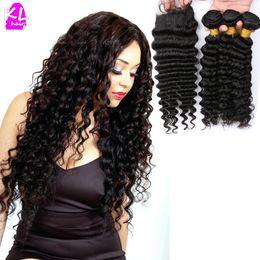 Descuento 7a encierro del pelo de la onda profunda Trama profunda del pelo de la onda de KeLang 3 + 1 con el pelo virginal brasileño de la Virgen del pelo 7A de la alta calidad Trama del pelo humano con el encierro del cordón