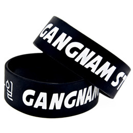 Wholesale 50PCS Lot 1 Inch Wide Gangnam Style Silicone Wristband Psy Rap Song Bracelet for Music Fans Gift