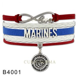 Wholesale Custom Infinity Love Air Force Mom Bracelet Army Navy Mom Marines Charm United States Marine Corps Leather Adjustable Bracelet Drop Shipping