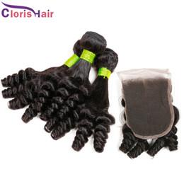 Unprocessed Aunty Funmi Hair With Closure Cheap Romance Curls Extensions Virgin Brazilian Peruvian Human Hair Weaves Bundles Lace Closure