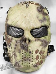Proteger a paintball en Línea-CS cráneo esqueleto de cara completa Paintball táctico proteger la máscara de terror de seguridad Halloween cosplay vestido máscara Jagged horror aderezos