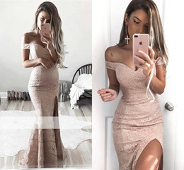 New Arrival Beige Sexy Memraid Prom Dresses Off Shoulder Lace Appliques Floor Length High Side Split Formal Evening Party Gowns