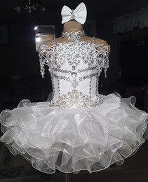 Wholesale White lace beaded halter short sleeve bow organza ball gown cupcake toddler little girls pageant dresses flower girls for weddings glitz