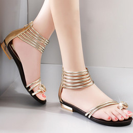 Casual style rhinestone gladiator sandals solid color flat heel zipper shoes sweet toe-covering