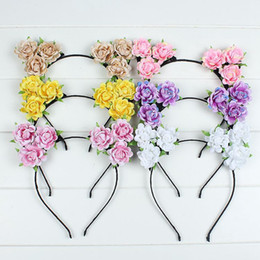 Cute Cat Kitty Ear Headbands Party Roses Flowers Hair head band Prop Women Lady Girls Kids for Christmas Wedding