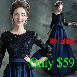 2016 New Cheap Prom Dresses 3 4 Long Sleeves Jewel Appliques Sweep Train Modest Arabic Royal Blue Evening Party Occasion Gowns In Stock