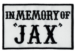 Wholesale IN MEMORY OF JAX Embroidered Iron Patch Motorcycle Biker Badge Sew On DIY Applique Embroidery Accessory Emblem Free Shipping