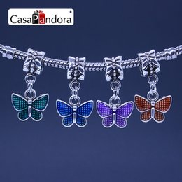 CasaPandora 4 Colors Silver-colored Colored Butterfly Shape Pendant Fit Bracelet Charm DIY Enamel Bead Making Pingente Berloque Wholesale