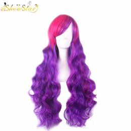 SHOWSTAR Lovely Lolita Rose Pink Purple Gradient Wig Long Wavy with Bangs Halloween Cosplay Party Wig Synthetic Women Ombre Wig Cosplay wome
