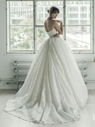Wholesale chaple train ball gown lace wedding dresses Ersa Atelier sweatheart neckline backless embroidery lace wedding gowns