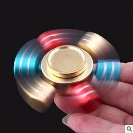 Wholesale 7 Colors Hexagon Hand Spinner Aluminium Fingertips Spiral Fingers Gyro Torqbar Fidget Spinner With Retail Box CCA5916