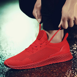 2017 New summer black   red   gray flying woven mesh breathable men's running shoes fashion men's casual shoes non-slip light sports shoes