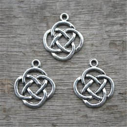 20pcs Knot Charms Knot Pendants Antiqued Silver Tone Double Sided 15 x 15 mm