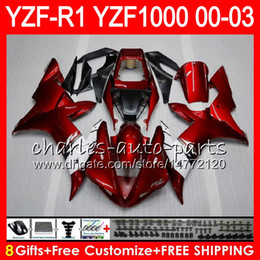 8Gift 23Color Body For YAMAHA YZF1000 YZFR1 02 03 00 01 red black YZF-R1000 62HM9 YZF 1000 R 1 YZF-R1 YZF R1 2002 2003 2000 2001 Fairing