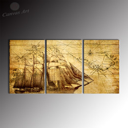 No Framed Classical Map Painting 3 Piece Canvas Art Prints Digital Picture Giclee Printed Wall Decor Canvas for Study Room Decoration