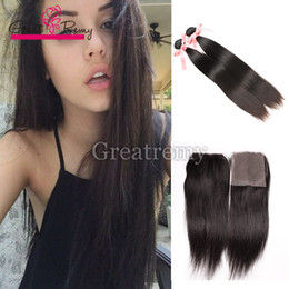 Indian Virgin Hair Bundles With Top Lace Closure Silky Straight 2pcs Human Hair Wefts + 1pc Top Lace Closure 4x4 Full Head Natural Color