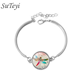 Wholesale Women Fashion Jewelry Accessory Pretty Dragonfly Pattern Crystal Cabochon Charm Silver Plated Adjustable Chain Bracelet Bangle