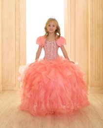 Hot Coral Girls Pageant Dresses Sparkling Crystal Beaded Puffy Ruffles Floor Length Ball Gown Flower Girl Dresses With Vest SY110