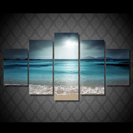 Wholesale HD Printed Beach Ocean Sea Sunset Painting Canvas Print Room Home Decor Print Poster Modular Picture Canvas Wall Art
