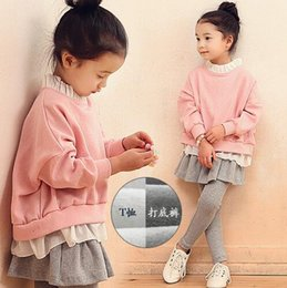 Wholesale 2016 New Arrival Korean Style Outfits Kids Girl Long Sleeve Tops Skirt Pant Cotton Children Lovely Pink Clothing Set PG5834