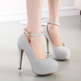 Wholesale Crystal Rhinestone Gold Wedding Dress Silver Shoes Open Peep Toe High Heels White Women Lady Cocktail Evening Bridal Accessories Cheap