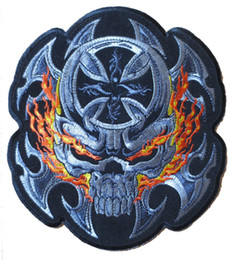 Free Shipping Details about 7'' Large PATCH Biker Embroidery Patches flame skull crossed 19cm*17cm Green House Patch