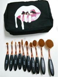 Promotion outils gratuits d'expédition La poudre de crème BB de maquillage de Kylie Oval de maquillage de maquillage de la paille rose rose de maquillage se fanent 10 pièces de maquillage Outils + sac DHL Livraison gratuite + CADEAU