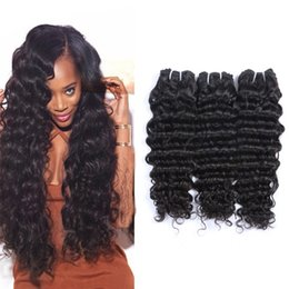 Top Quality Brazilian Hair Extensions Malaysian Human Virgin Hair Weaves Deep Wave Natural Color 3pcs 50g pc Can Be Washed Free Shipping