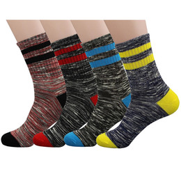 Mens Boys Striped Dress Colorful Crew Socks Soft Kniting Wool Casual Mid-calf Athletic Ankle Sock