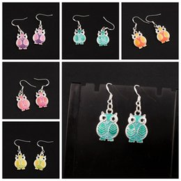 Enamel Owl Earrings 925 Silver Fish Ear Hook 24pairs lot 6Colors Dangle 13.5x37 mm Chandelier Jewelry E1599