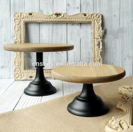 Wholesale free shipping metal base wood cake display tray, environmental bake tool, cake plate